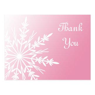 Pink Snowflake Thank You Postcard