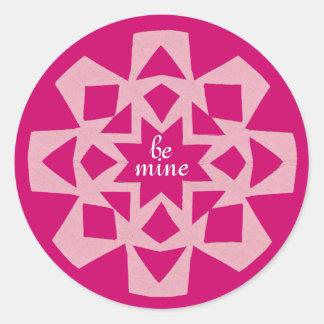 Pink snowflake Valentine sticker