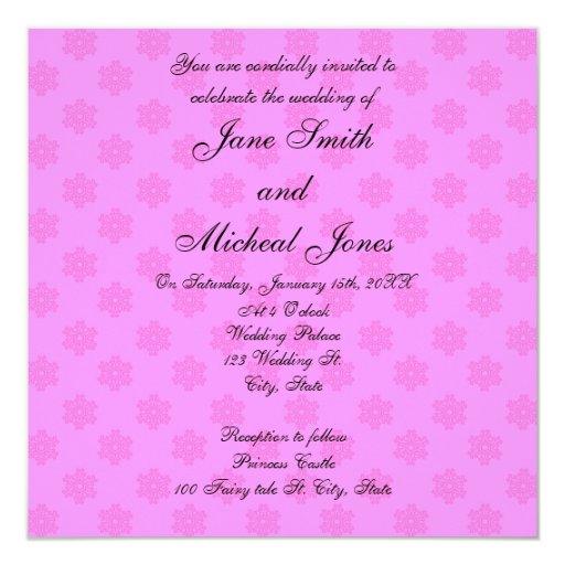 "Pink snowflake wedding invitations 5.25"" square invitation card"