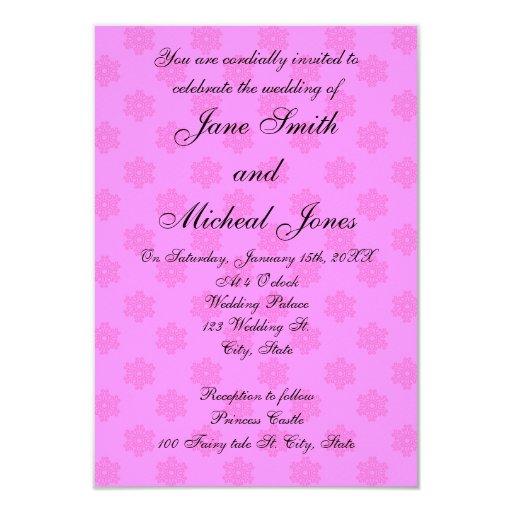 Pink snowflake wedding invitations