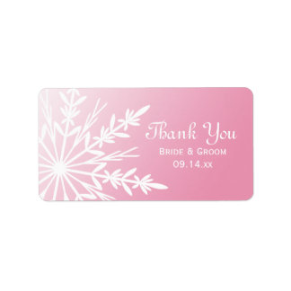 Pink Snowflake Wedding Thank You Label Personalized Address Label