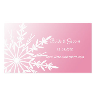 Pink Snowflake Wedding Website Profile Card Business Cards