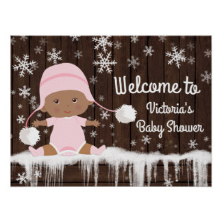 Pink Snowflake Winter Girl Baby Shower Sign