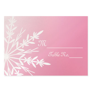 Pink Snowflake Winter Wedding Place Cards Large Business Cards (Pack Of 100)