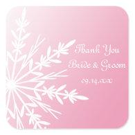 Pink Snowflake Winter Wedding Thank You Sticker