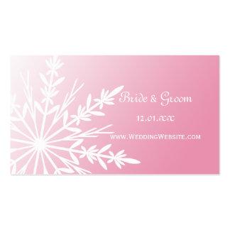 Pink Snowflake Winter Wedding Website Profile Card Business Card