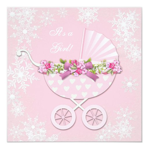 pink snowflake winter wonderland baby shower card zazzle