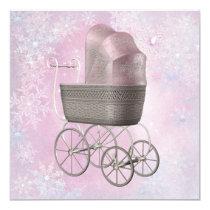Pink Snowflake Winter Wonderland Baby Shower Card