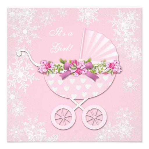 pink snowflake winter wonderland baby shower invitation zazzle