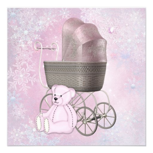 Pink Snowflake Winter Wonderland Baby Shower Custom Invite