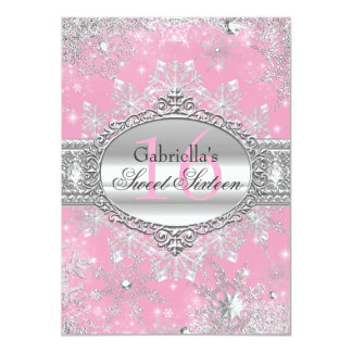 "Pink Snowflake Winter Wonderland Sweet 16 Invite 4.5"" X 6.25"" Invitation Card"