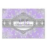 Pink Snowflake Winter Wonderland Sweet 16 RSVP 3.5x5 Paper Invitation Card