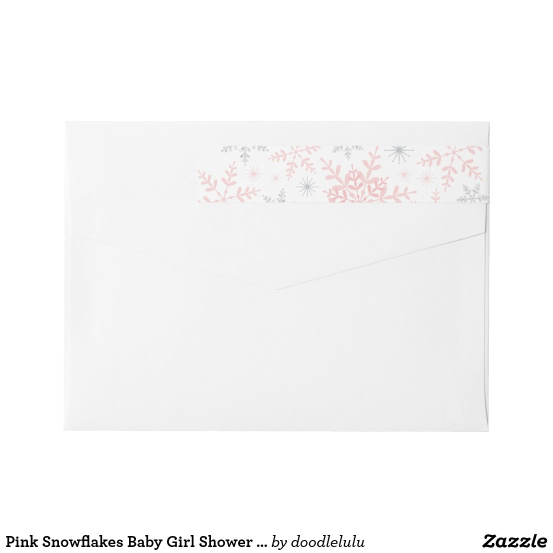 Pink Snowflakes Baby Girl Shower Silver Glitter Wrap Around Label