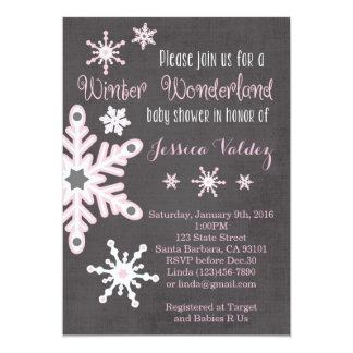 Pink Snowflakes Baby Shower Invitation