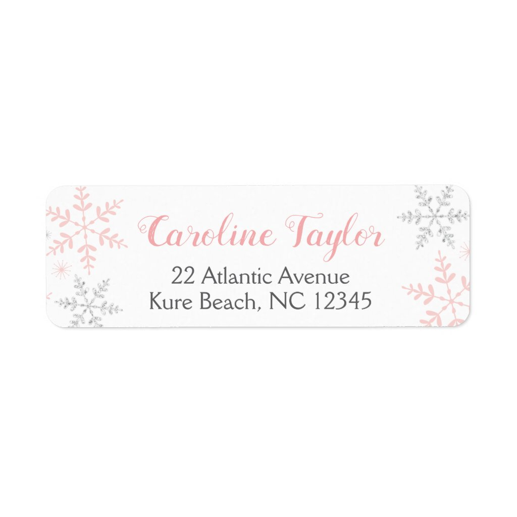 Pink Snowflakes Baby Shower Winter Label