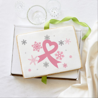 Pink Snowflakes (breast cancer christmas) Jumbo Shortbread Cookie
