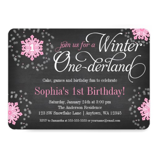 Pink Snowflakes Chalkboard Winter Onederland 5x7 Paper Invitation Card