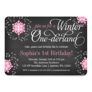 Pink Snowflakes Chalkboard Winter Onederland Card