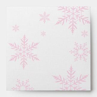 Pink Snowflakes Custom Envelope