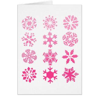 Pink Snowflakes - Greeting Card