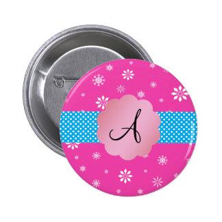 Pink snowflakes monogram pinback button