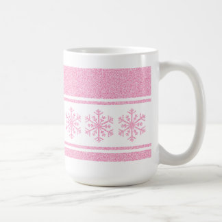 pink snowflakes on christmas mug