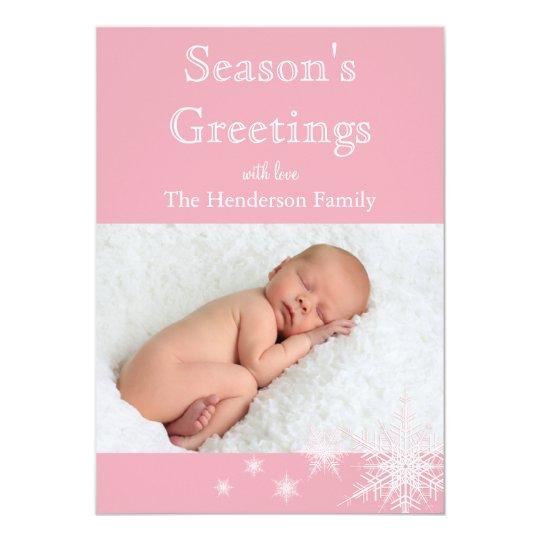 Pink Snowflakes Photo Holiday Card