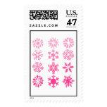 Pink Snowflakes - Postage Stamp