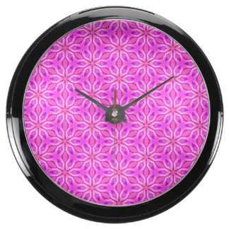 Pink Snowflakes Spinning in Abstract Winter Fish Tank Clock