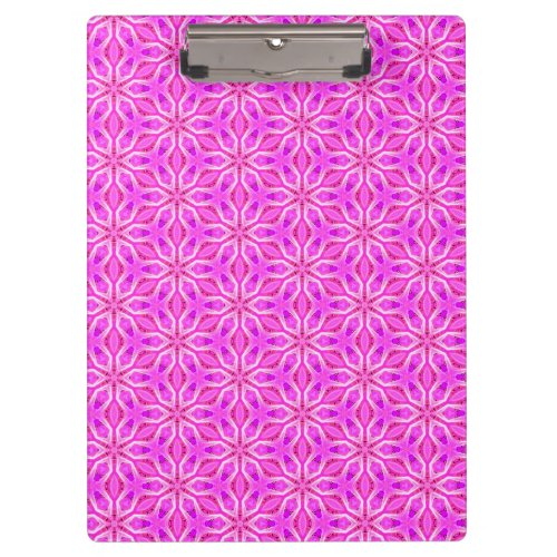 Pink Snowflakes Spinning in Abstract Winter Clipboard