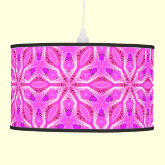 Pink Snowflakes Spinning in Abstract Winter Hanging Pendant Lamp