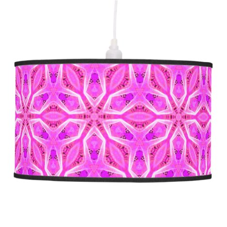 Pink Snowflakes Spinning in Abstract Winter Pendant Lamp