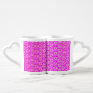 Pink Snowflakes Spinning in Abstract Winter Lovers Mugs