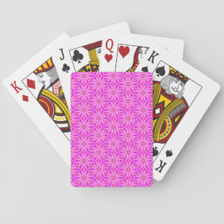Pink Snowflakes Spinning in Abstract Winter Playing Cards