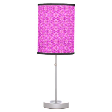 Pink Snowflakes Spinning in Abstract Winter Table Lamp