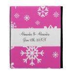 Pink snowflakes wedding favors iPad folio case