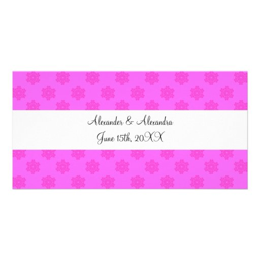 Pink snowflakes wedding favors personalized photo card