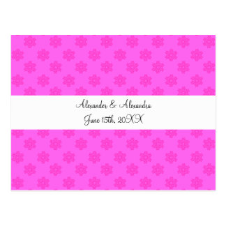 Pink snowflakes wedding favors postcards