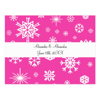 Pink snowflakes wedding favors post card