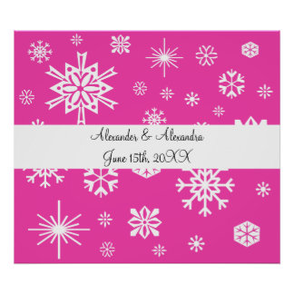 Pink snowflakes wedding favors posters