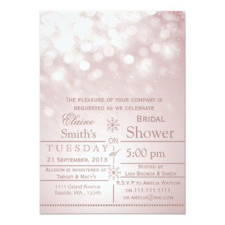 pink snowflakes Winter Bridal shower Invite