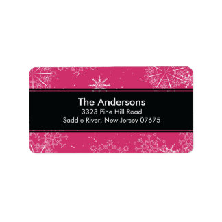 Pink Snowflakes Winter Holiday Return Address Personalized Address Labels