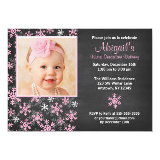 Pink Snowflakes Winter Onederland Chalkboard Photo 5x7 Paper Invitation Card