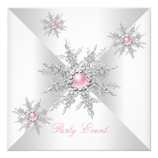 Pink Snowflakes Winter Wonderland Party Card