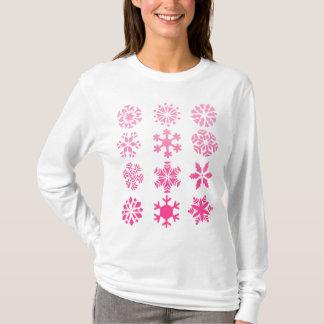 Pink Snowflakes - Women's Long Sleeve (white) T-Shirt