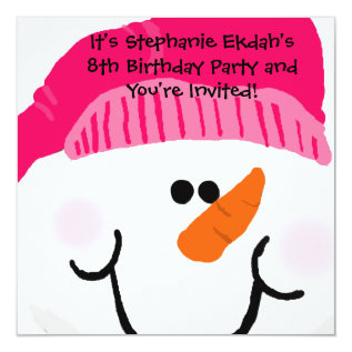 Pink Snowman Birthday Invitations at Zazzle