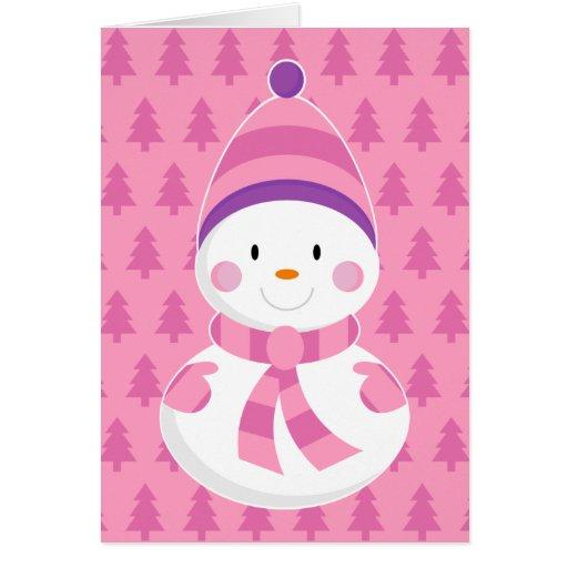 Pink Snowman Christmas Card