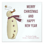 Pink Snowman :: Merry Christmas Card 13 Cm X 13 Cm Square Invitation Card