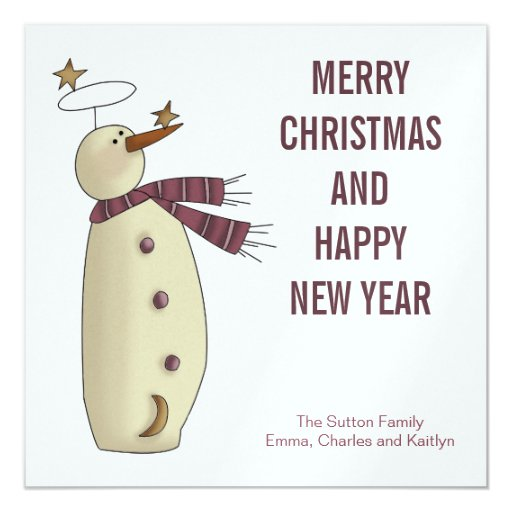 Pink Snowman :: Merry Christmas Card Personalized Invitations