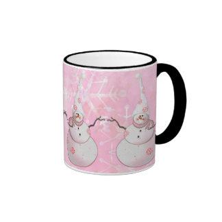 PINK SNOWMAN, SCARF & SNOW HAT by SHARON SHARPE Ringer Coffee Mug